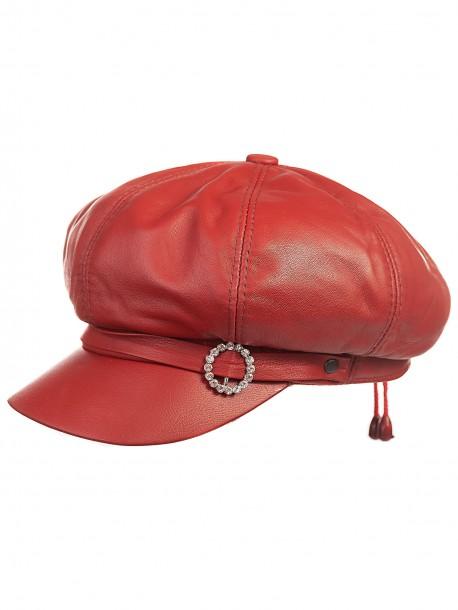 Червен дамски каскет от кожа