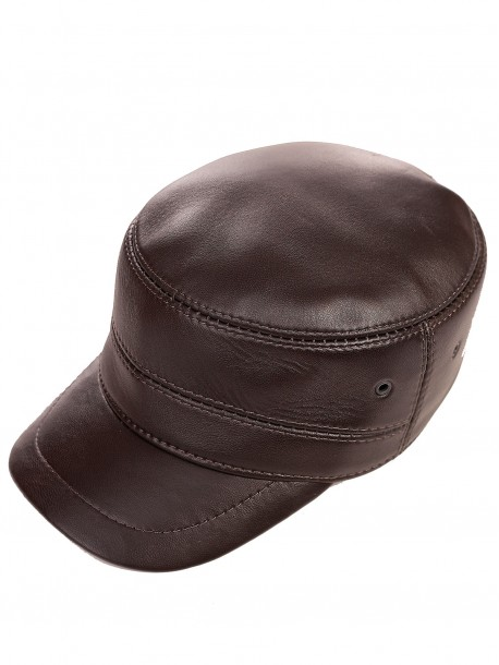 Зимна шапка с козирка - кафява