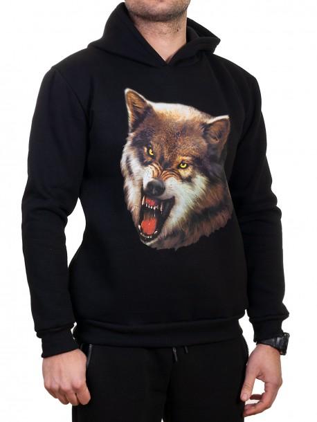 Мъжки суитчър с щампа на вълк