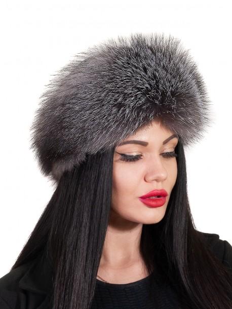 Дамска шапка от лисица - сива