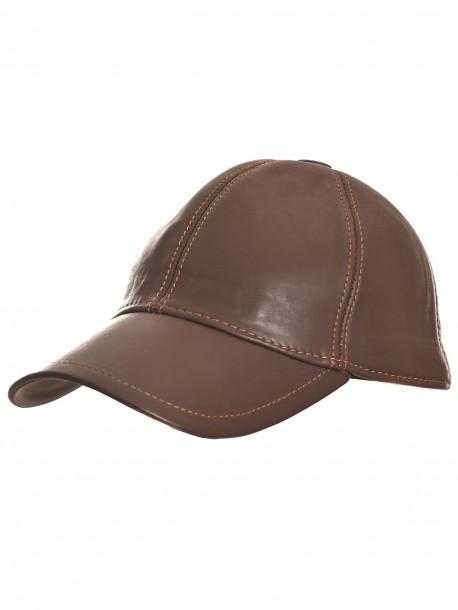 Тъмно кафява шапка с козирка от естествена кожа