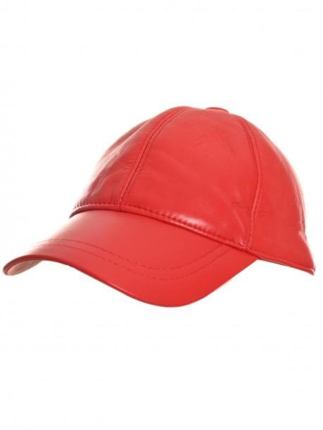 Червена шапка с козирка от естествена кожа