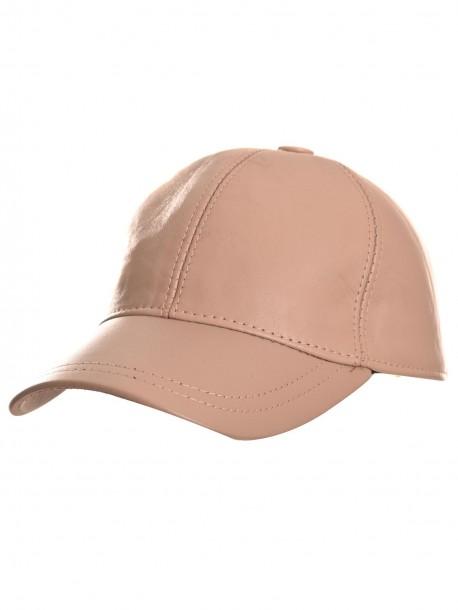 Бежово-кремава шапка с козирка от естествена кожа