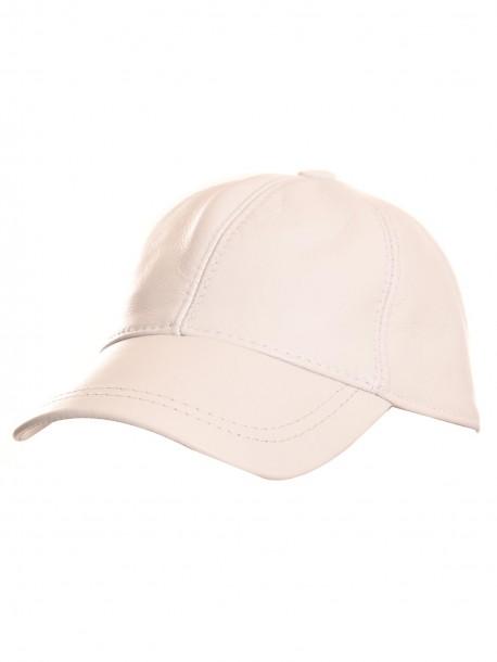 Бяла шапка с козирка от естествена кожа