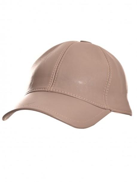 Сиво-бежова шапка с козирка от естествена кожа
