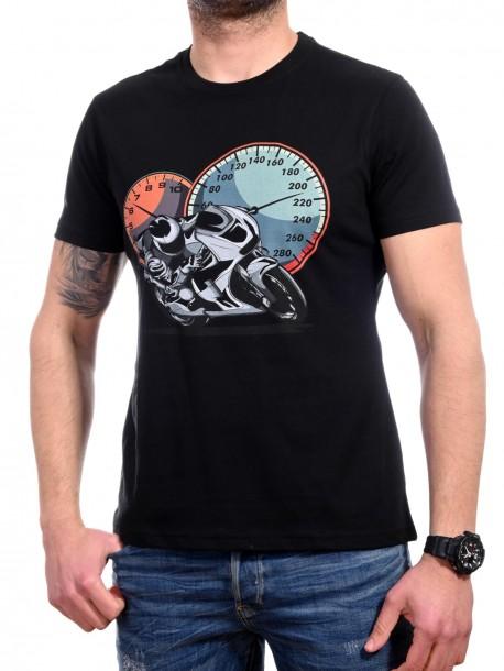 Черна тениска с мотор