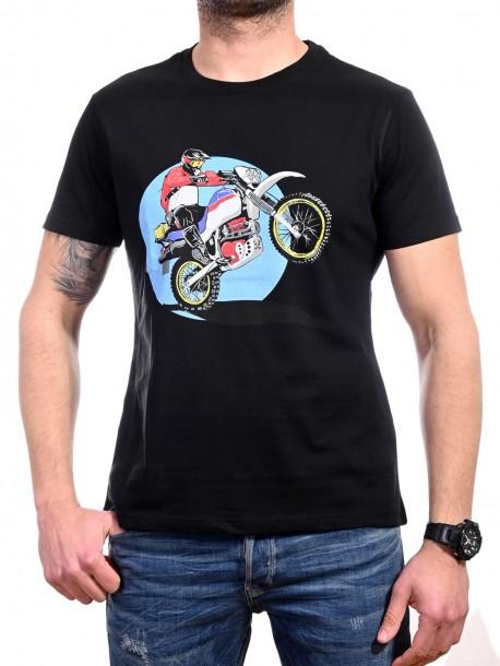 Черна мъжка тениска с кросов мотор