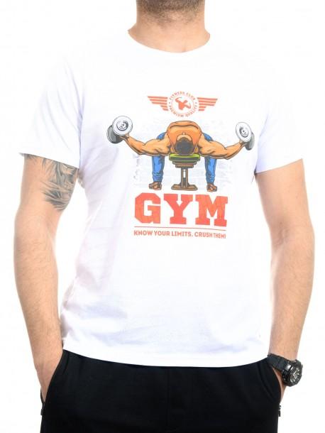 Бяла тениска за фитнес
