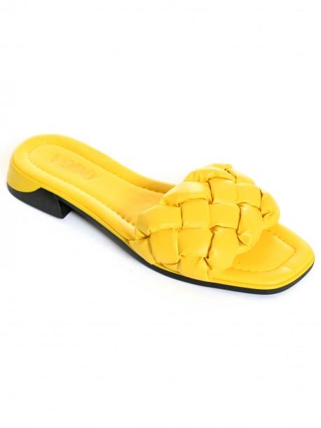 Ниски дамски чехли - жълти