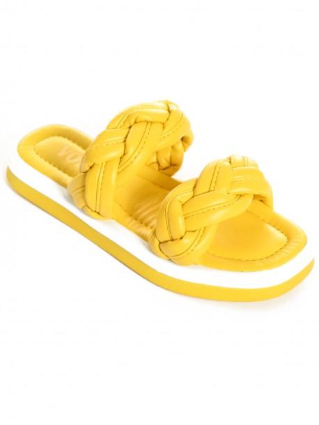Жълти плетени дамски чехли