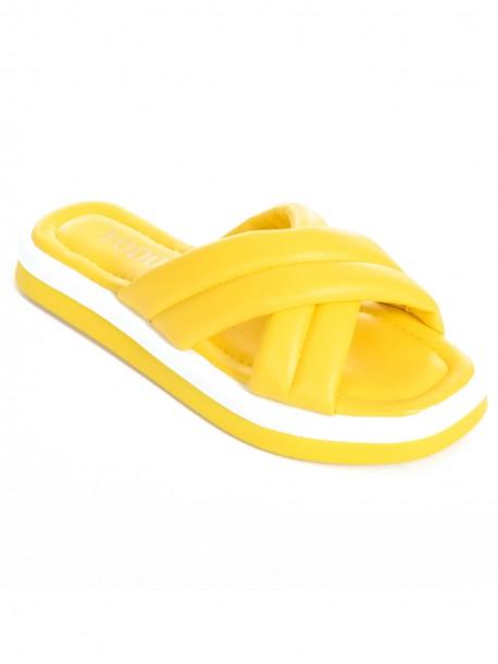 Цветни дамски чехли - жълти
