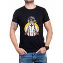 Мъжка тениска в черно с маймуна
