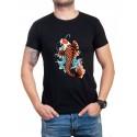 Черна мъжка тениска с риба Якудза