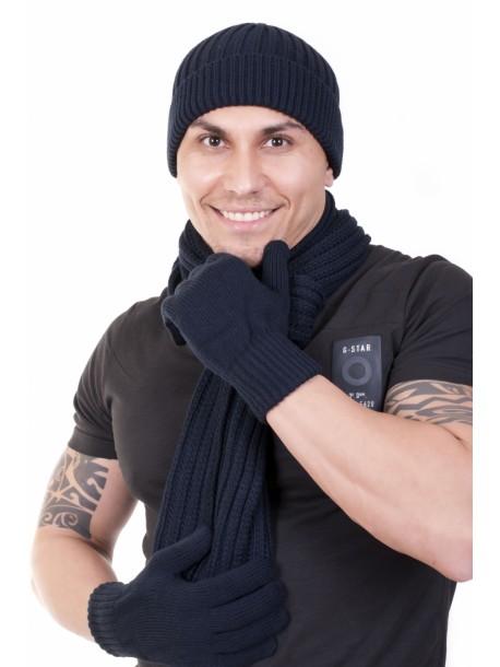 Мъжки комплект шал, шапка и ръкавици в синьо V01038