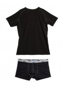 Черен мъжки комплект от тениска и боксери