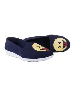 Сини ниски обувки с емотикон