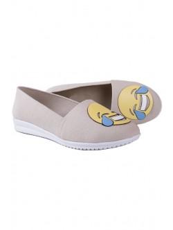Бежови дамски ниски обувки с емотикон
