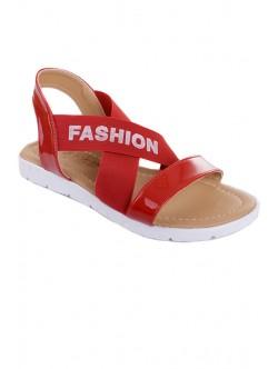 Червени сандали с ластик