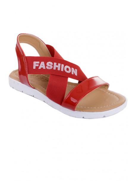 Червени сандали с ластик V01459