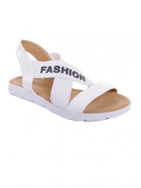 Бели сандали с ластик V01462
