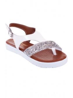 Бели сандали с брокат