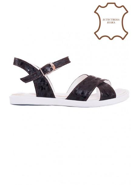 Кафеви сандали естествена кожа V01500