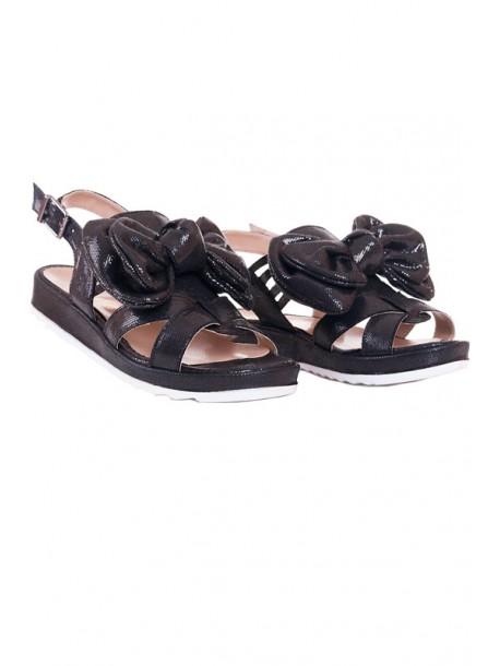 Черни сандали с панделка V01504