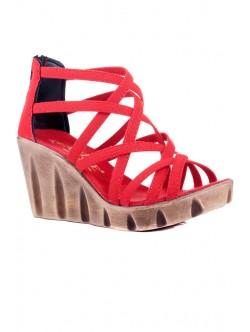 Червени сандали на платформа