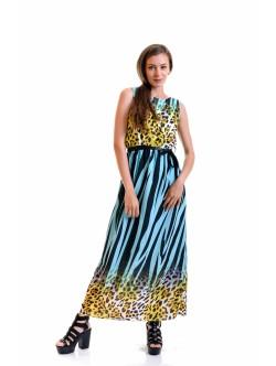 Дълга рокля Злати тюркоаз