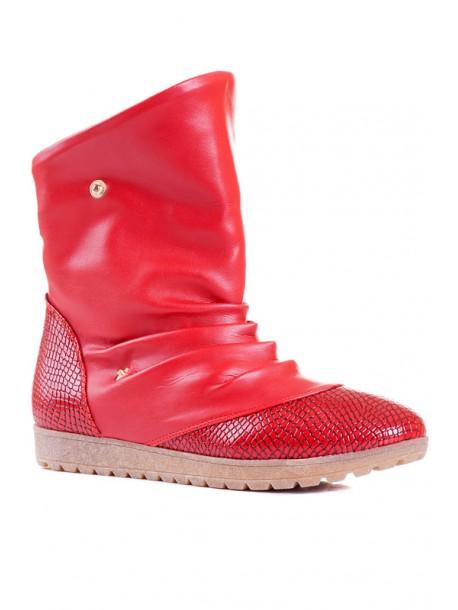 Червени дамски ботуши V01599