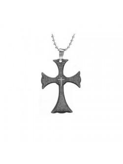 Черен стоманен медальон с кръст