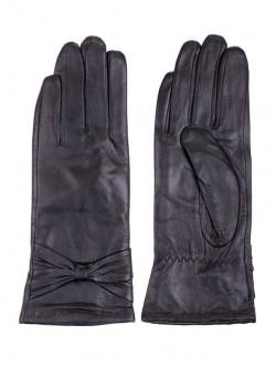 Дамски кожени ръкавици с панделка