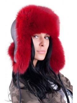 Дамска ушанка от лисица - червена