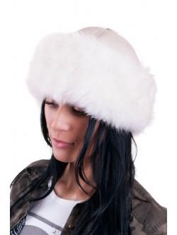 Бял дамски калпак от естествена кожа