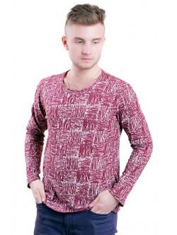 Червен мъжки памучен пуловер