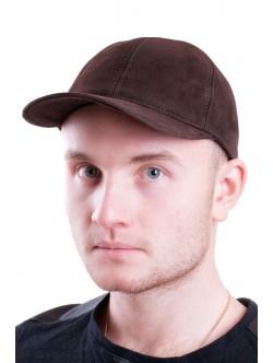 Велурена шапка от естествена кожа- кафява