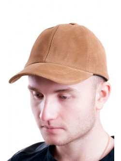 Велурена шапка от естествена кожа- камел