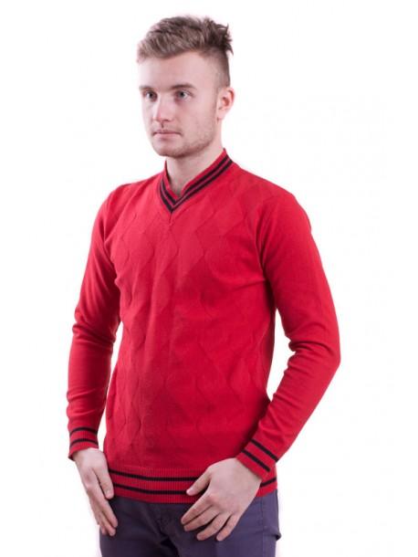 Червен мъжки пуловер