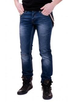 Сини мъжки дънки с тиранти