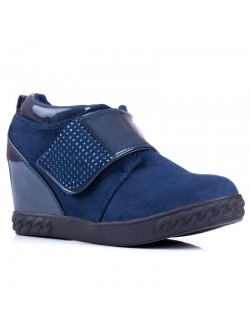 Обувки без връзки на платформа - сини