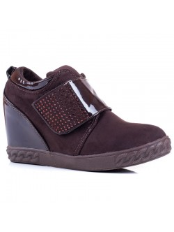Обувки без връзки на платформа - кафеви