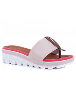 Бежови дамски чехли Клариса