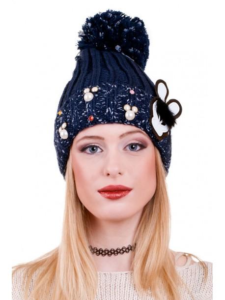 Тъмно синя шапка Rabbit