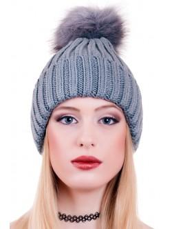 Сива дамска шапка с помпон