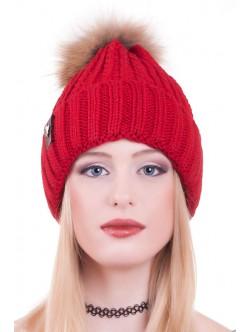 Червена шапка естествен помпон