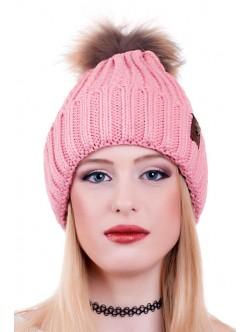 Розова шапка с естествен помпон