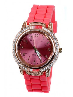 Часовник с червена силиконова каишка
