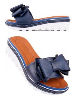 Сини чехли с панделка