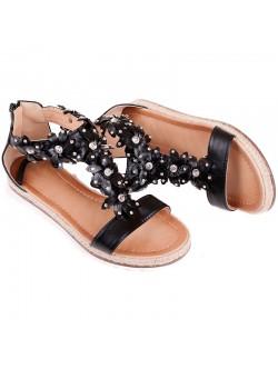 Черни равни сандали