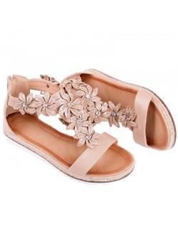 Бежови равни сандали